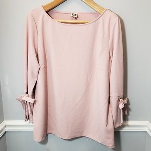 Pink Anne Klein Bell Sleeved Bow Blouse